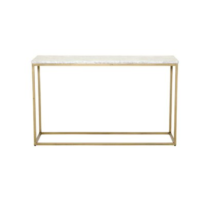 "Paulsen Parquet Console Table Size: 29.5"" H x 50"" W x 17"" D, Table Base Color: Gold, Table Top Color: Marble"