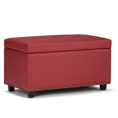 Hannah Faux Leather Storage Bench Upholstery: Crimson Red