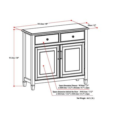 Connaught 2 Drawers and 2 Door Entryway Accent Cabinet