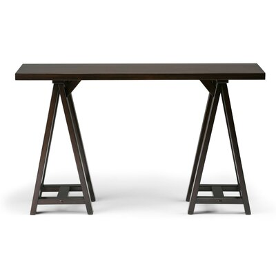 "Sawhorse Console Table Color: Dark Chestnut Brown, Size: 29.5"" H x 66"" W x 16.5"" D"