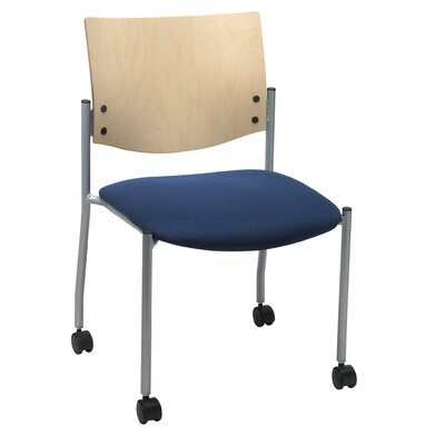 Evolve Armless Guest Chair Seat Finish: Navy, Frame Finish: Natural