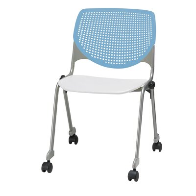 Lundell Armless Poly Stacking Chair Frame Finish: White, Casters: Without Casters, Seat Finish: Black