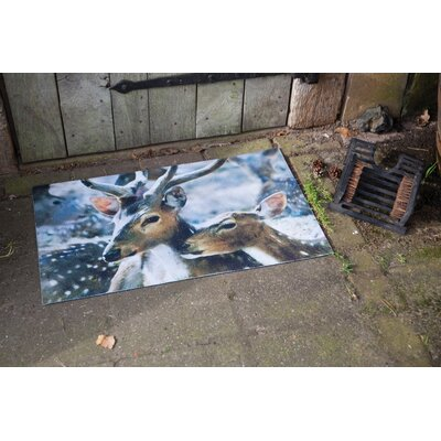 Fallen Fruits Best for Boots Winter Deer Printed Doormat