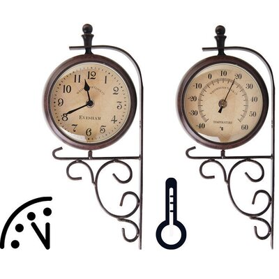 Fallen Fruits World of Weather 2 Piece Clock and Thermometer on Standing Bracket Set
