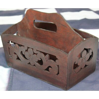Hand Carved Wood Magazine Holder