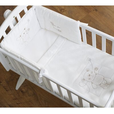 Obaby B is for Bear Crib Quilt and Bumper in White (2 Piece Set)