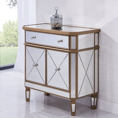 1 Drawer Accent Cabinet Color: Gold