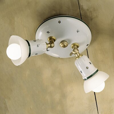 Ferroluce Treviso 2 Light Semi Flush Ceiling Light