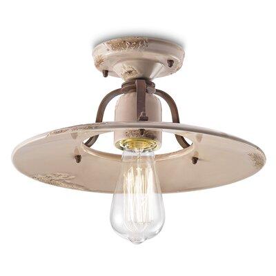 Ferroluce Grunge 1 Light Semi Flush Ceiling Light