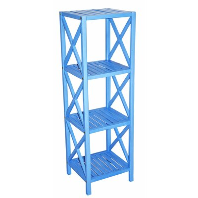 Bamboo 4 Tier Etagere Bookcase Color: Light Blue