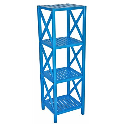 Bamboo 4 Tier Etagere Bookcase Color: Blue