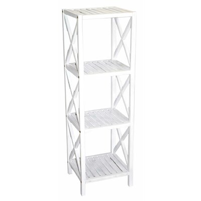 Bamboo 4 Tier Etagere Bookcase Color: White