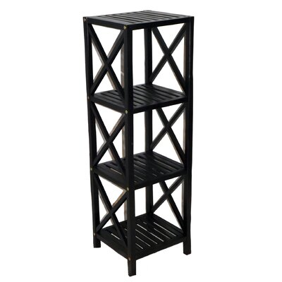 Bamboo 4 Tier Etagere Bookcase Color: Black