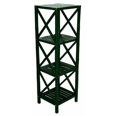 Bamboo 4 Tier Etagere Bookcase Color: Green