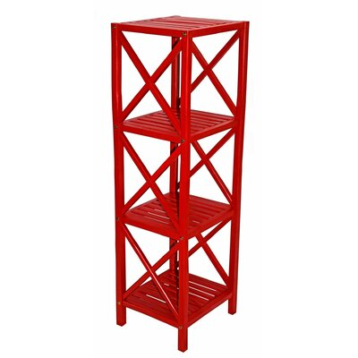 Bamboo 4 Tier Etagere Bookcase Color: Red