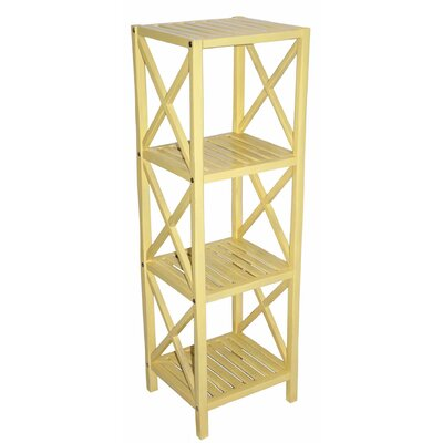 Bamboo 4 Tier Etagere Bookcase Color: Yellow
