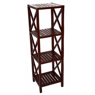 Bamboo 4 Tier Etagere Bookcase Color: Brown