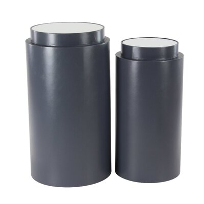 Seese 2 Piece Modern Cylindrical Pedestal Plant Stand Set
