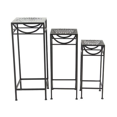 Chino 3 Piece Modern Pierced Top Design Square Nesting Plant Stand Set Color: Black