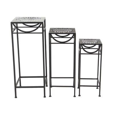 Chino 3 Piece Modern Pierced Top Design Square Nesting Plant Stand Set Color: Black