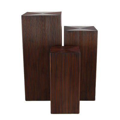 Chipping Sodbury 3 Piece Rustic Pedestal Plant Stand Set Color: Brown