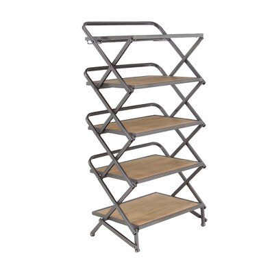 Contemporary 5-Tiered Rectangular Accordion Shelving Unit