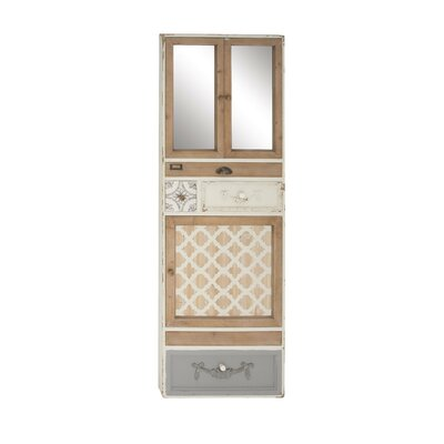 Ilario RusticMirror 2 Door Accent Cabinet with Drawers Framed Wall Decor
