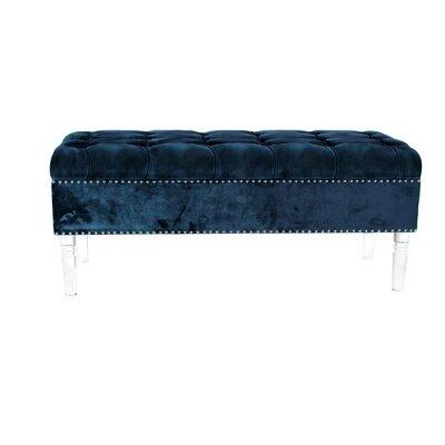 Oskar Modern Tufted Upholstered Bench Upholstery: Blue