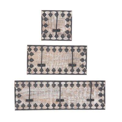 Hillrose Ornate Framed 3 Piece Wall Mounted Coat Rack Set
