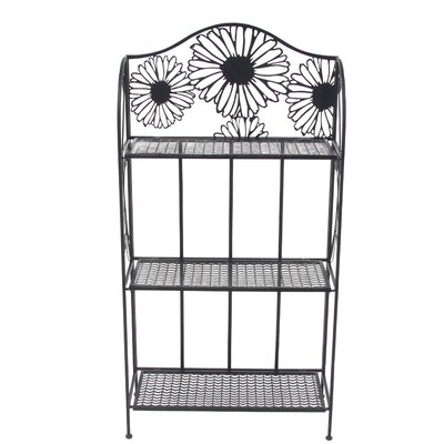 Traditional 3-Tiered Folding Daisy Themed Storage Shelving Unit