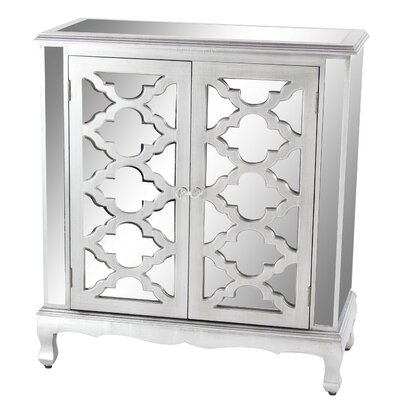 Marley Modern with Mirrored Panels Lattice-Designed 2 Door Accent Cabinet