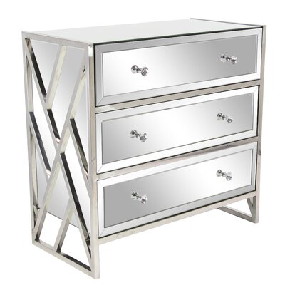 Jazelle Modern Mirrored 3 Drawer Accent Chest
