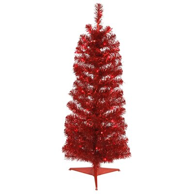 2' Red Pencil Pine Pine Artificial Christmas Tree with 35 Red Lights with Stand Bulb Type: Incandescent