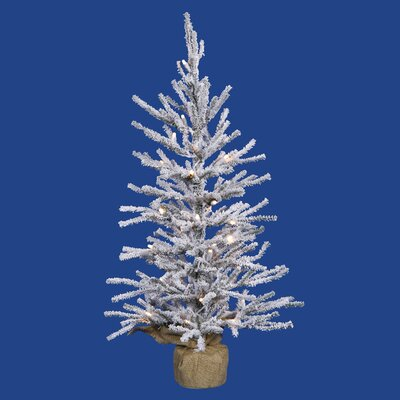Frosted Angel 4' Flocked White/Green Pine Artificial Christmas Tree with 70 LED Clear/White Lights with Stand