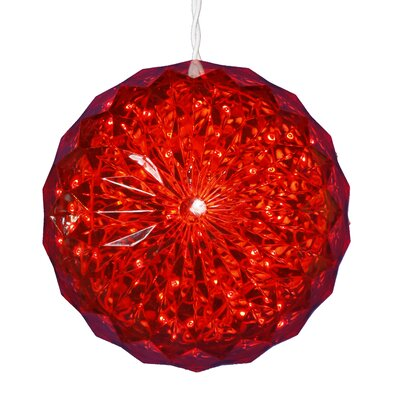Lighted Hanging Crystal Sphere Ball Outdoor Christmas Decoration Color: Red