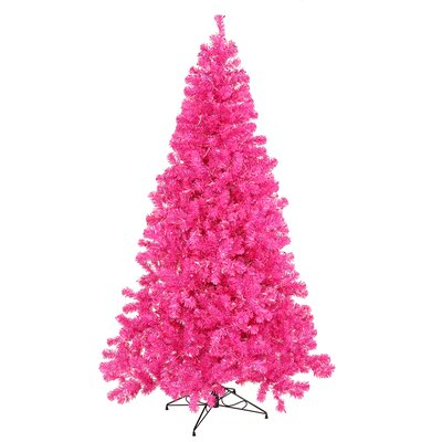 3' Hot Pink Pine Artificial Christmas Tree with 50 Pink Lights with Stand Bulb Type: LED