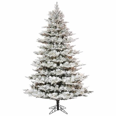 Flocked 9' Artificial Christmas Tree with Warm White LED Lights with Stand