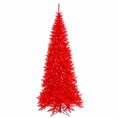 7.5' Red Fir Artificial Christmas Tree with 500 LED Red Lights with Stand