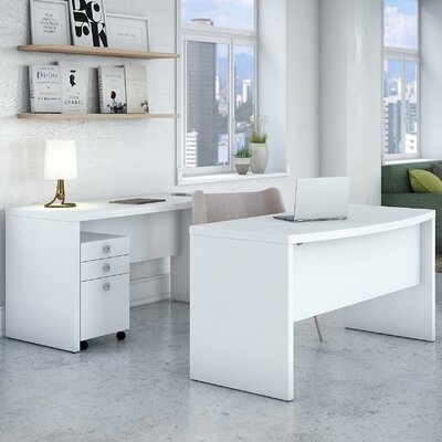 Echo 3 Piece Bow Front Desk Office Suite with Credenza Desk and Mobile File Cabinet