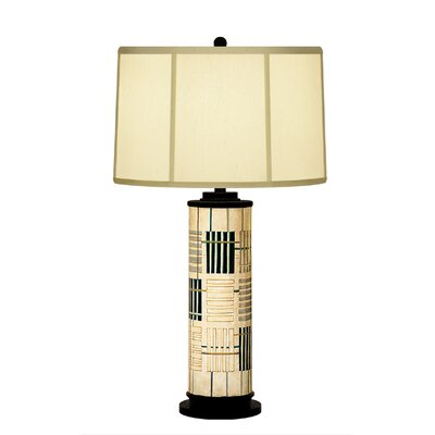 JB Hirsch Home Decor Holmes Abstract Column Table Lamp with Drum Shade