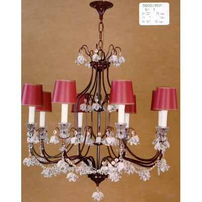 Martinez Y Orts 8 Light Painted Crystal Chandelier