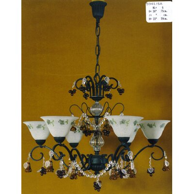 Martinez Y Orts Tulips Fruits 6 Light Crystal Chandelier