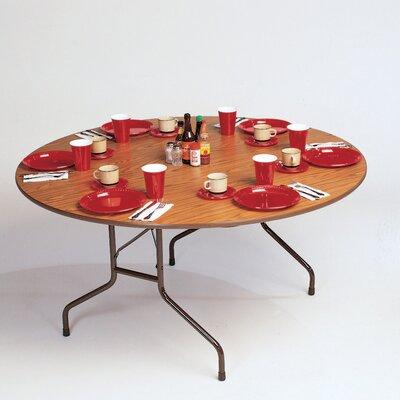 Round Folding Table Size: 48 Round, Top/Leg Finish: Walnut/Brown