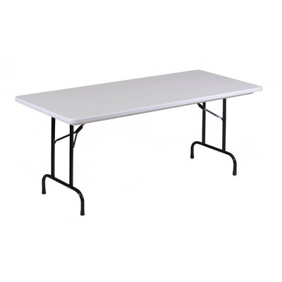 """Rectangular Folding Table Color: Gray Granite with Black Frame, Size: 30 x 72"""""""