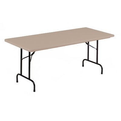 """Rectangular Folding Table Color: Mocha Granite with Brown Frame, Size: 30 x 72"""""""
