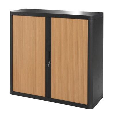 EasyOffice 2 Door Storage Cabinet Cabinet Finish: Black, Door Finish: Beech