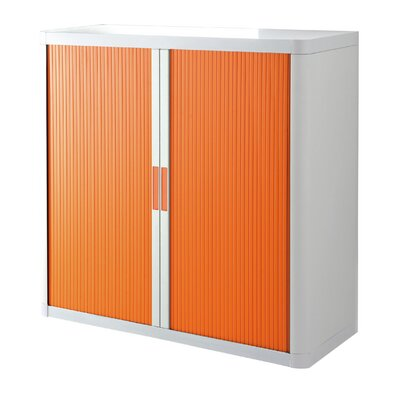 EasyOffice 2 Door Storage Cabinet Cabinet Finish: White, Door Finish: Orange