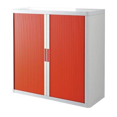 EasyOffice 2 Door Storage Cabinet Cabinet Finish: White, Door Finish: Red