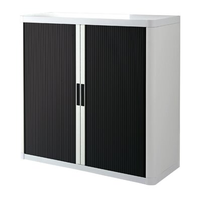 EasyOffice 2 Door Storage Cabinet Cabinet Finish: White, Door Finish: Black