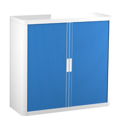 EasyOffice 2 Door Storage Cabinet Cabinet Finish: White, Door Finish: Blue